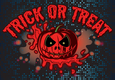 intertainment: vector template for Halloween with pumpkin and blood flow for advertisements or invitation Illustration