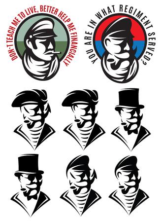 swindler: set of patterns of one man as bandit, swindler adventurer, gangster, captain, pirate, gentleman Illustration