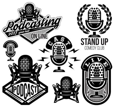 set van vector stijlvolle retro patronen met microfoons, radio, podcast, toon