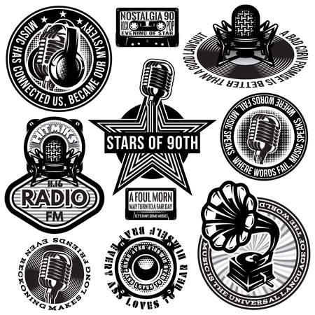set of retro badges templates gramofon, microphones, speakers, headphones audiocassette
