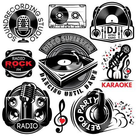 set of retro badges templates for karaoke, disco, party, radio, singing