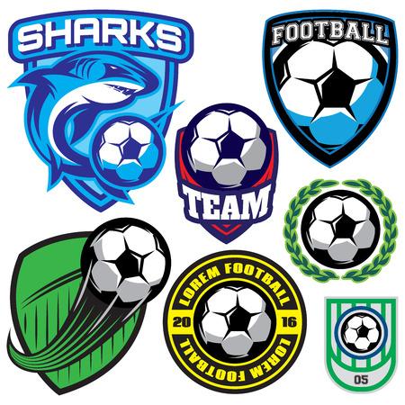 conjunto de placa de deportes con un balón de fútbol y el tiburón para el equipo, de color ilustración vectorial