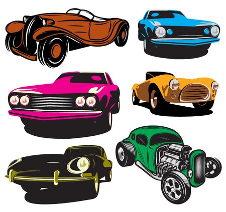 collection d'illustrations vectorielles avec des voitures classiques de couleur