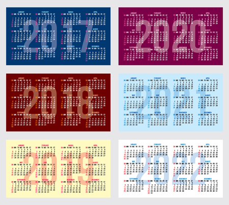 calender design: vector set of calendar grids for years 2017-2022 for business cards