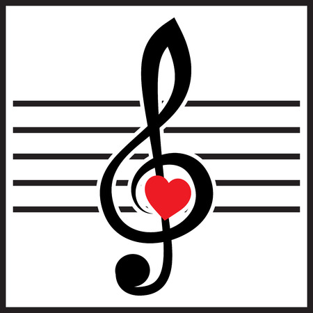 heart tone: vector illustration with treble clef and heart on white background Illustration