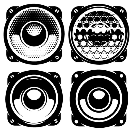 woofer: set of vector templates for posters or badges with monochrome acoustic speakers