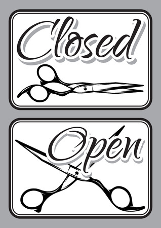 shopsign: Set of retro door signs for barber shop with scissors