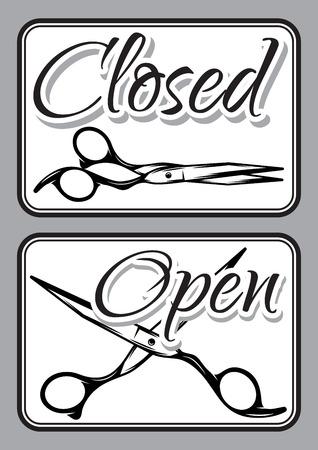 barber scissors: Set of retro door signs for barber shop with scissors