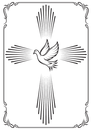 Symbolic cross and dove. Template emblems for church. Vector illustration for design.