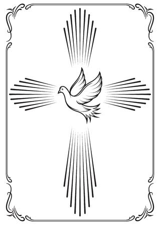 Croix symbolique et colombe. Emblèmes de modèle pour l'église. Illustration vectorielle pour la conception Vecteurs
