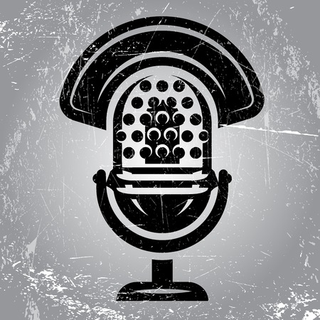 radio microphone: gray retro poster with scratches and radio Microphone Illustration