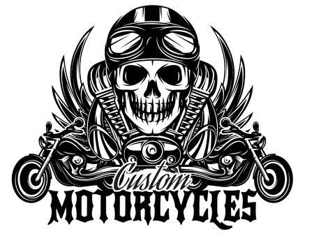 vector monochrome image on a motorcycle theme with skulls, motorcycles, wings, engine Çizim
