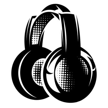 headphone: vector illustration with headphones on white background Illustration