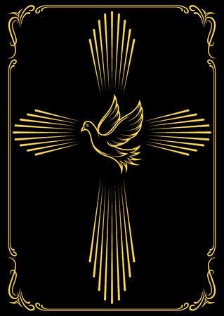confirmacion: simbólica cruz y paloma. emblemas de plantilla para la iglesia. Ilustración del vector para el diseño. Vectores