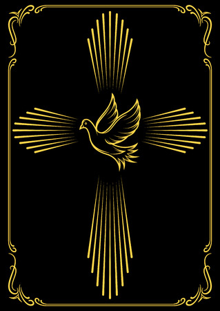 christian confirmation: Symbolic cross and dove. Template emblems for church. Vector illustration for design.