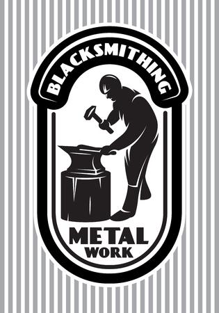 鍛冶屋のハンマーでレトロなスタイルのロゴは、鍛冶場にアンビルの白黒ベクトル テンプレート