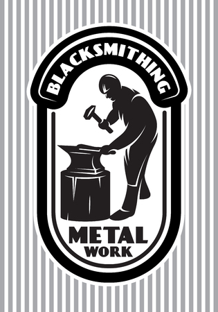 monochrome vector template for the logo in retro style with blacksmith hammer, anvil in the smithy