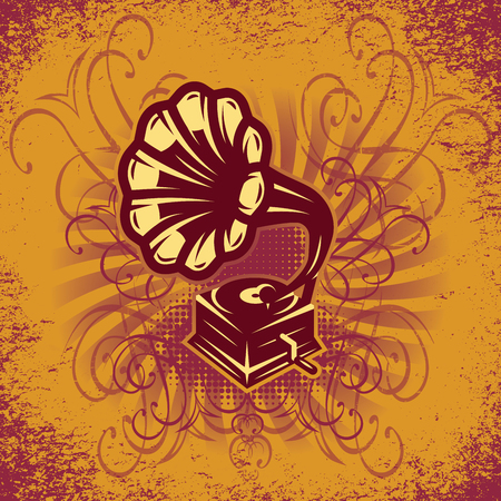 gold record: music colorful background in retro style for the cover or party posters with gramophone Illustration