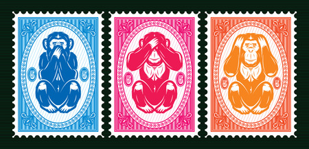 set of three colored  template with three monkeys