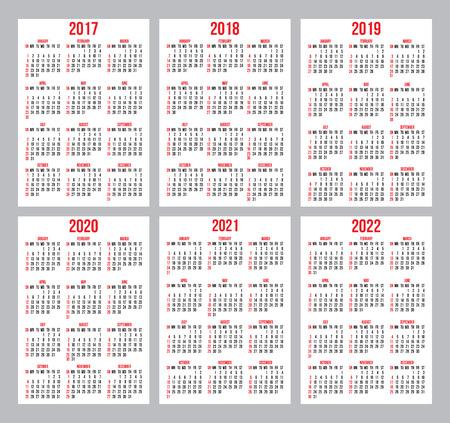 Jeu De Grilles Calendrier Pour Les Annees 2017 2022 Vectorielles