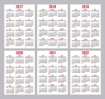 Vector set of calendar grids for years 2018 2022 for business 69244940 vector set of calendar grids for years 2017 2022 for business cards on white background colourmoves
