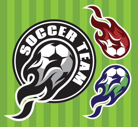 set of multi-colored patterns for the team sports with soccer flying ball