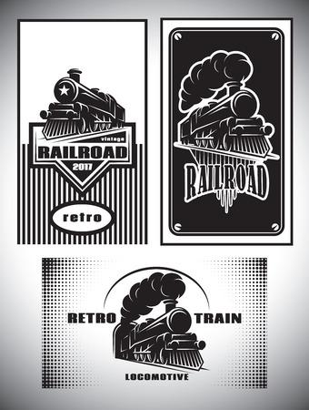 Las tarjetas de visita plantilla de conjunto. Vintage tren de vapor, ferrocarril viejo retro