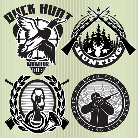 vector set of hunting labels with wild ducks and deer head Vettoriali