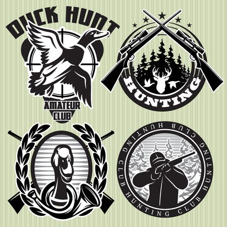 vector set van de jacht etiketten met wilde eenden en herten hoofd Stock Illustratie