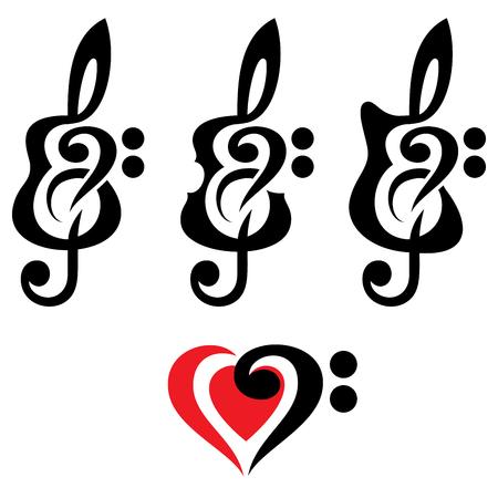 transcription: Different kinds of guitars, violin, treble clef. Vektor set of patterns for logo design