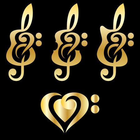 transcription: Different golden kinds of guitars, violin, treble clef. Vektor set of patterns for logo design