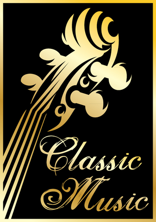 classical: golden vector pattern with violin for a classical music concert