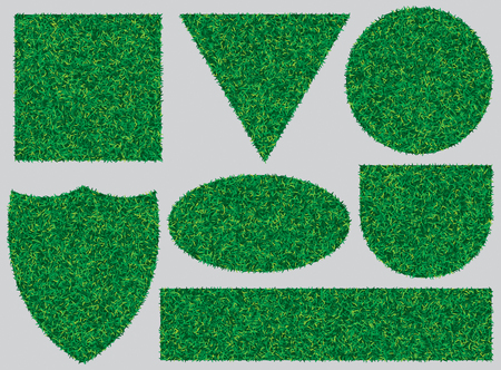 set of vector banners with texture of green grass for design