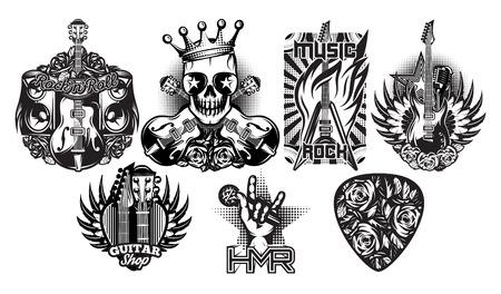Conjunto de los modelos en blanco y negro del vector en el tema de la música rock, rock and roll Foto de archivo - 71497626