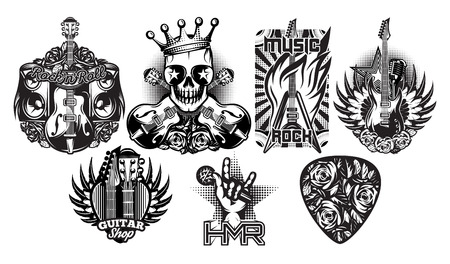 Set of monochrome vector patterns on the theme of rock music, rock and roll Çizim