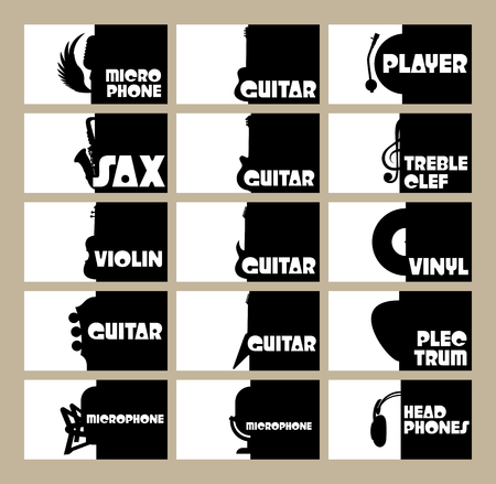 the resonator: vector set of templates for business cards on the theme of musical instruments, radio, disco