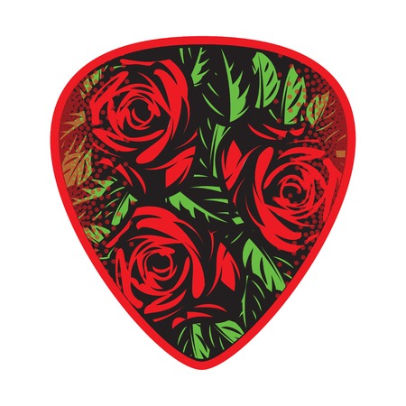 design: color vector template for design plectrum with roses and leaves