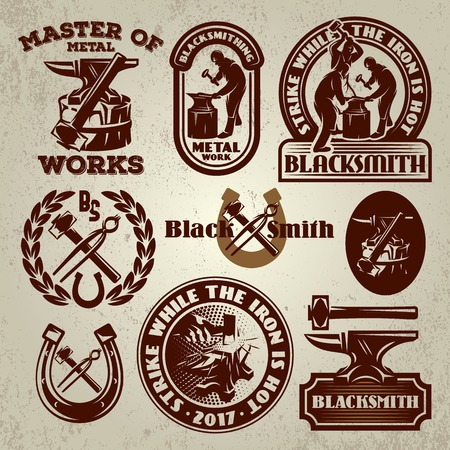 vector set of badge, design elements, templates for design on the theme of blacksmithing