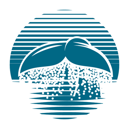 diving save: Blue vector template for a logo with whale tail