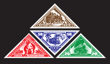 four colored pattern of postage stamps with vintage trains, blacksmiths, food truck Illustration