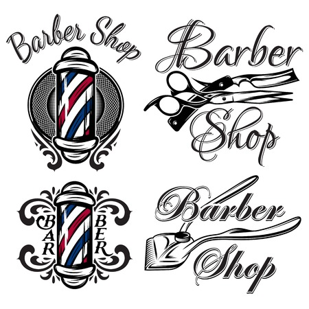 Set of retro barber shop logos. Isolated on the white background Иллюстрация