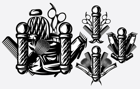 Set of monochrome templates for logos on the topic of barbershop. Vector illustration