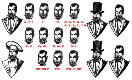 expresiones faciales: Set for man characters speaks animation. Set of frames. Teaching talk letters monochrome vector illustration. Vectores