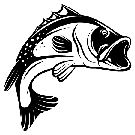 Vector monochrome illustration of a bass with fins, tail and open mouth Vectores