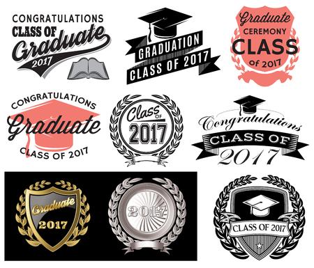 Graduación conjunto de vectores Clase de 2017, felicitaciones Graduado Ilustración de vector