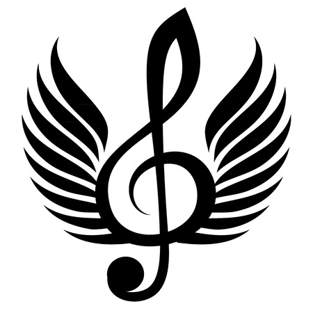 Black treble clef with wings. Vector illustration Illustration