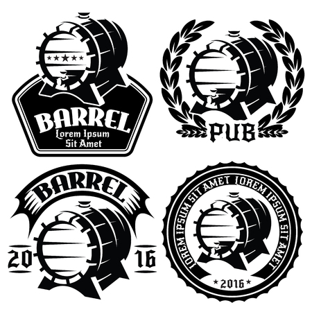 set of vector templates for labels or menu with barrels and barley 向量圖像
