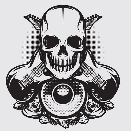 Vector monochrome illustration on a theme of rock music with skull, speaker and guitars
