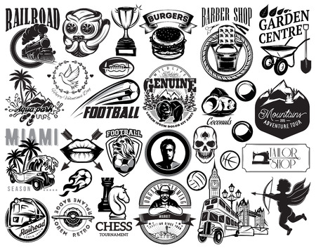 Set of vector monochrome illustrations for design of various subjects