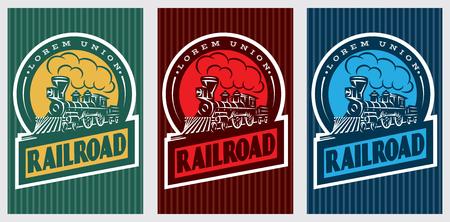 ヴィンテージ機関車とカラフルなレトロなポスターのセット。ベクトル図